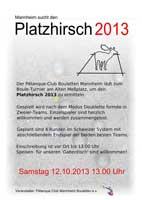 Einladung zum Platzhirsch am Sa. 12.10.2013 13:00 Uhr