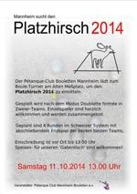Einladung zum Platzhirsch am Sa. 11.10.2014 13:00 Uhr
